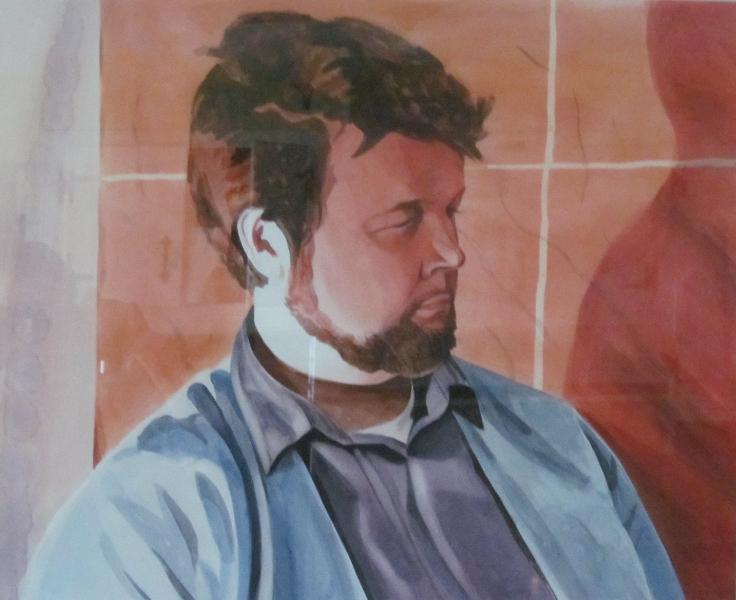 Self-portrait Orange Background